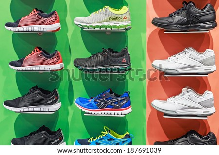 RUSSIA, MOSCOW - MARCH 10, 2014: Reebok Sports shop in Moscow. Reebok International company manufacturing sportswear and accessories. Headquartered in the Boston suburb of Canton (Massachusetts). - stock photo