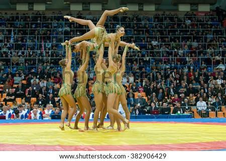 RUSSIA, MOSCOW - MARCH 27, 2015: Stadium Druzhba. The team of Russia on aesthetic gymnastics at the opening of the World Cup Memorial A. Kharlampiev in Luzhniki sport palace, Moscow, Russia - stock photo