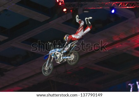 RUSSIA, MOSCOW-MARCH 2: Unidentified sportsman doing tricks on his bike at the VI festival of extreme sports in the Olympic Sports Complex Moscow, Russia, on March 2, 2013