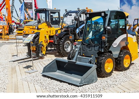 RUSSIA, MOSCOW - May 31, 2016: exhibits and construction equipment International Specialized Exhibition of Construction Equipment and Technologies at Crocus Expo - stock photo