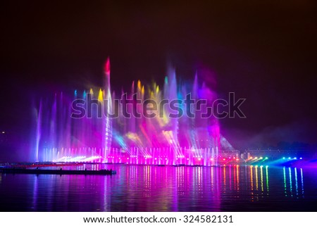 RUSSIA. MOSCOW - September 27, 2015. Festival Circle of Light. The Rowing Channel. Show with music, fountains and fireworks.