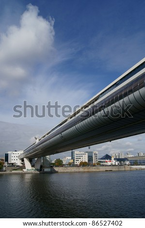 Russia.Moscow. Trade Moscow-CitY bridge - stock photo