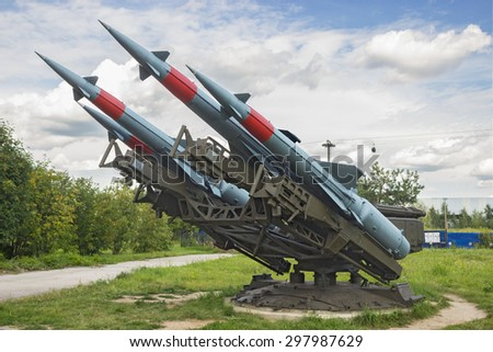 "RUSSIA, NIZHNY NOVGOROD, CIRCA JUL 2015: Soviet anti-aircraft missile complex ""Neva"" S-125M. Was adopted on arms in 1964, exhibition in N.Novgorod.  The exhibition is open all year round - stock photo"
