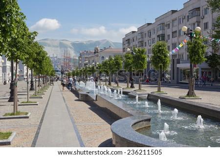 RUSSIA, NOVOROSSIYSK - MAY 9, 2014: Street of the  Novorossiyskoj republic - stock photo