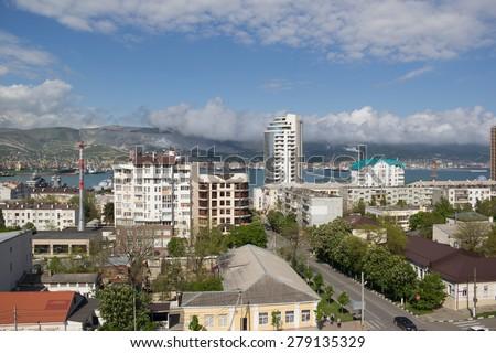 RUSSIA, NOVOROSSIYSK - MAY 9, 2015:Views of Novorossiysk on a sunny day. Novorossiysk is a major sea port in Russia - stock photo