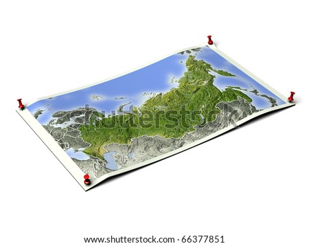 Russia on unfolded map sheet with thumbtacks. Map colored according to vegetation, with borders. Includes clip path for the background.
