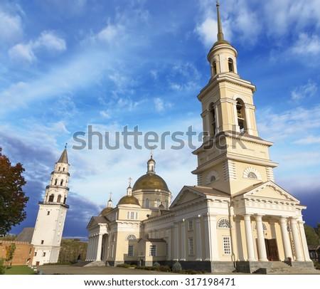 Russia orthodox architecture. Spaso-Preobrazhensky cathedral church and leaning belfry in Nevyansk, Sverdlovsk region - stock photo