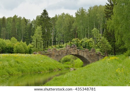 Russia.Park in Pavlovsk.The natural landscape of the forest overlooking the old stone bridge.
