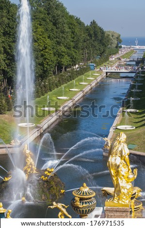 RUSSIA, PETERHOF - AUGUST 13, 2010: The Grand Cascade and Sea Channel in Peterhof Palace - stock photo