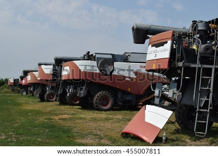 Russia, Poltavskaya village - September 6, 2015: Combine harvesters Torum. Agricultural machinery.