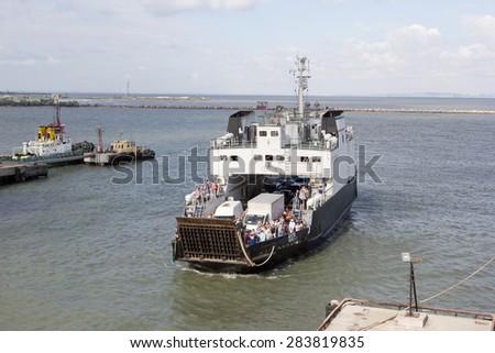 RUSSIA,|PORT-KAVKAZ JUNE 12, 2014: Car ferry service between Krasnodar region and the Crimea - stock photo