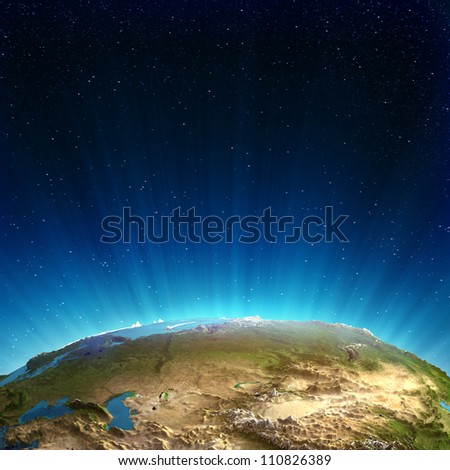 Russia real relief. Elements of this image furnished by NASA - stock photo