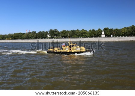 Russia. River walk by motor ship across the Moskva River.  - stock photo