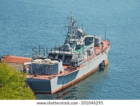 Russia's military ship and boat at Black sea, Ukraine - stock photo