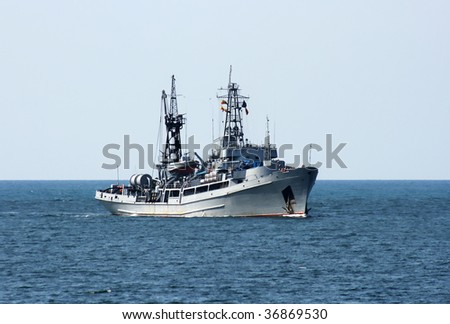 Russia's military ship at sea - stock photo