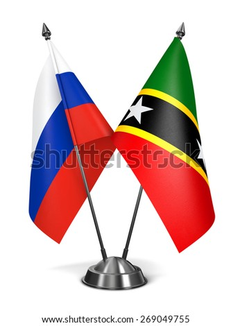 Russia, Saint Kitts and Nevis - Miniature Flags Isolated on White Background. - stock photo