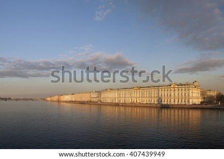 Russia, Saint Petersburg, a panorama view at the Winter palace at sunset in spring time.