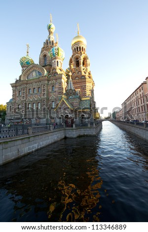 Russia Saint Petersburg Church of Our Saviour on Spilled Blood - stock photo