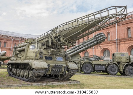 "RUSSIA; SAINT-PETERSBURG - JULY 8 - The launcher 2P19 with missile 8K14 missile system 9K72 ""Elbrus"", mod.1962.  in military history museum on July 8; 2015 in St. Petersburg"