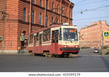 Russia.Saint-Petersburg.24.04.2016.The city ride the trams.