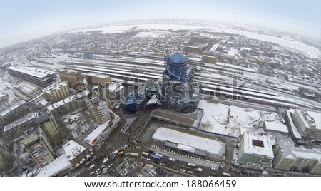 RUSSIA, SAMARA - JAN 4: Aerial view to cityscape with modern building railway station in the winter.