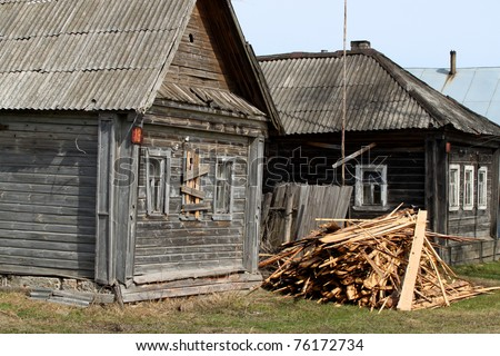 Russia. spring. rural landscape, old houses - stock photo