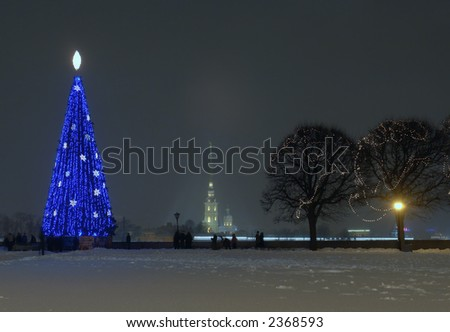 russia. st-petersburg. arrow of wasilevsky islands in new year - stock photo