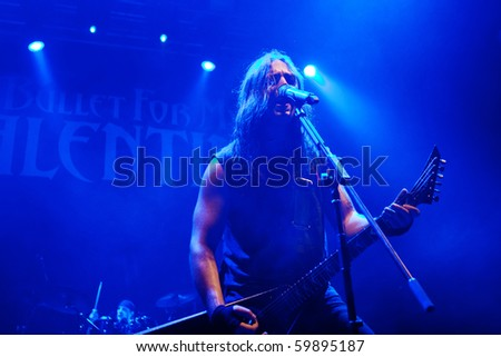 """RUSSIA, ST.-PETERSBURG - JULY 14: GROUP """"BULLET FOR MY VALENTINE"""", St.-Petersburg On July 14, 2010 in St Petersburg, Russia - stock photo"""