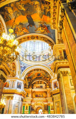 RUSSIA, ST. PETERSBURG - JUNE 22/2013: ISAAC'S CATHEDRAL RECEIVED VISITORS AFTER RESTORATION OF MANY EXHIBITS.