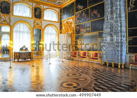 RUSSIA, ST. PETERSBURG - JUNE 22/2013: palace of Tsarskoye Selo received visitors after restoration of many exhibits.