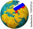 russia territory with flag on map of globe - stock photo