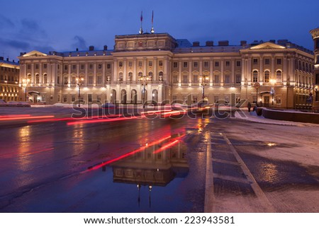 Russia, The Building of Legislative assembly of St Petersburg, Isaak Square, night, winter. - stock photo
