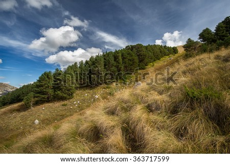 Russia, the Caucasus Mountains,  Adygea. Autumn blue sky with white clouds and mountains on the yellowed grass. - stock photo