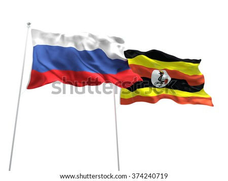 Russia & Uganda Flags are waving on the isolated white background - stock photo