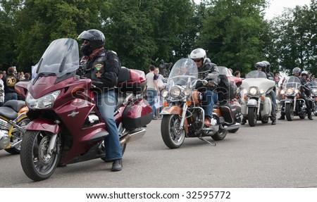 RUSSIA, VLADIMIR - JUNE 19, 2009: Harley-Davidson international rally Suzdal 2009 at Vladimir  Sobornaya square - stock photo