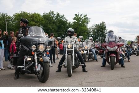 RUSSIA, VLADIMIR - JUNE 19: Harley-Davidson international rally Suzdal 2009 at Vladimir  Sobornaya square on June 19, 2009 - stock photo