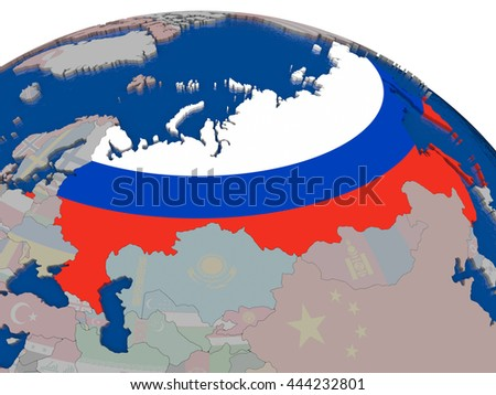 Russia with flag highlighted on model of globe. 3D illustration - stock photo