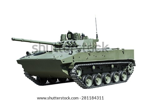 Russian airborne fighting vehicle is isolated on a white background - stock photo
