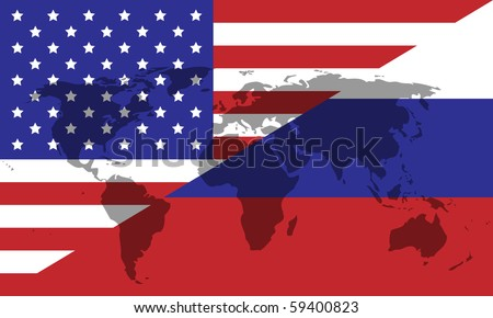 Russian American division of the world - stock photo
