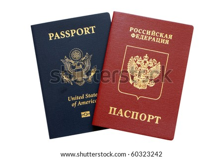 Russian and American passports isolated on a white background