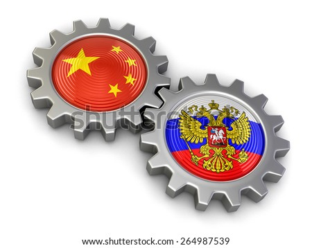 Russian and Chinese flags on a gears (clipping path included) - stock photo