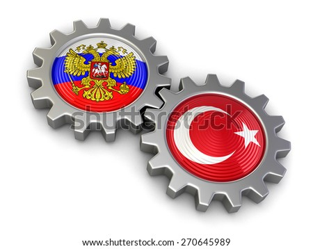 Russian and Turkish flags on a gears (clipping path included) - stock photo