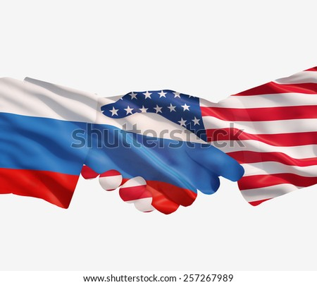 Russian and USA handshake on a white background. - stock photo