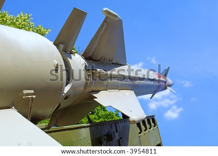 Russian anti-aircraft missile is ready to start. Shot in June, near Dnieper river (Dniepropetrovsk, Ukraine). - stock photo