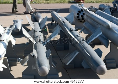 Russian anti-aircraft missiles at an exhibition - stock photo