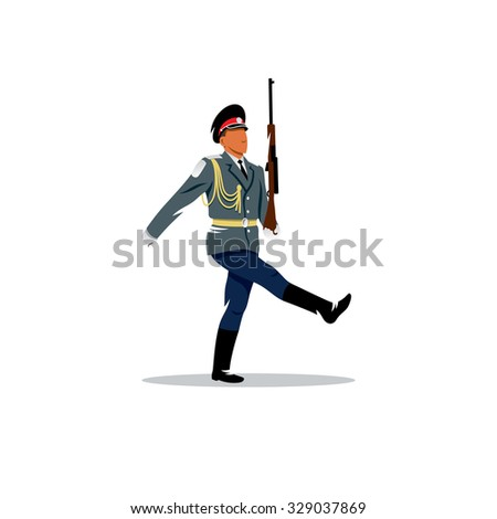 Russian army. The soldier honor guard in Russia with a gun in the hands on a white background. Branding Identity Corporate Logo