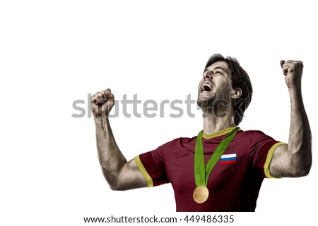 Russian Athlete Winning a golden medal on a white Background.