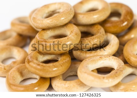 Russian bagels on a white background - stock photo