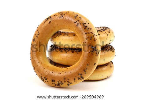 Russian bagels with poppy seeds on a white background - stock photo