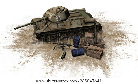 russian Battle Tank with munitions boxes and weapons seperated on white background